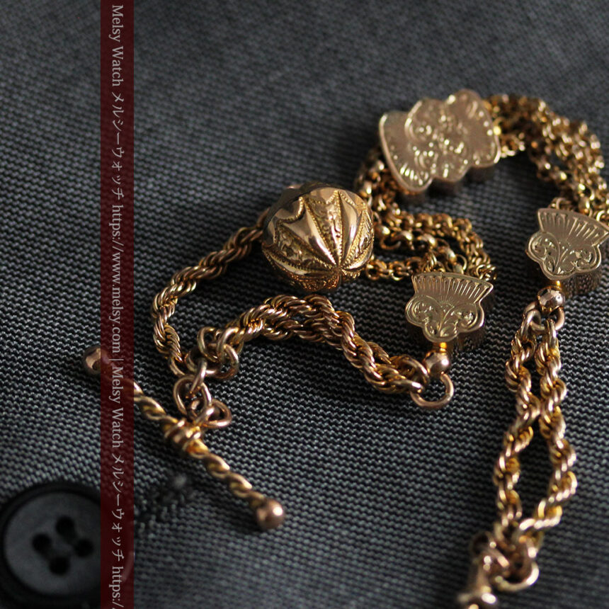 玉飾りと繊細な装飾の特別な金無垢アンティーク懐中時計チェーン-C0462-9