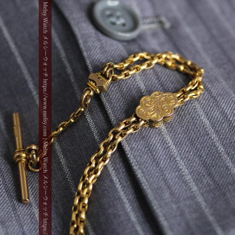 短めの綺麗な作りのアンティーク懐中時計チェーン-C0464-1