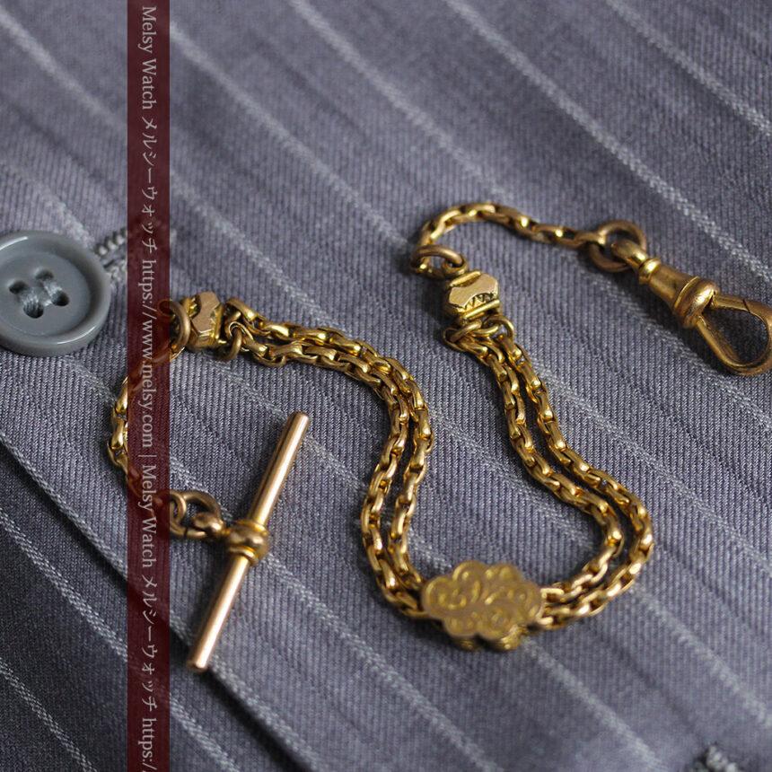 短めの綺麗な作りのアンティーク懐中時計チェーン-C0464-10