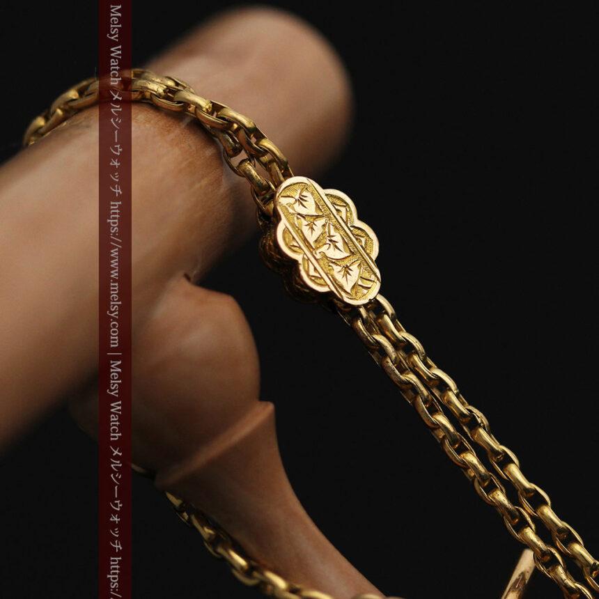 短めの綺麗な作りのアンティーク懐中時計チェーン-C0464-2