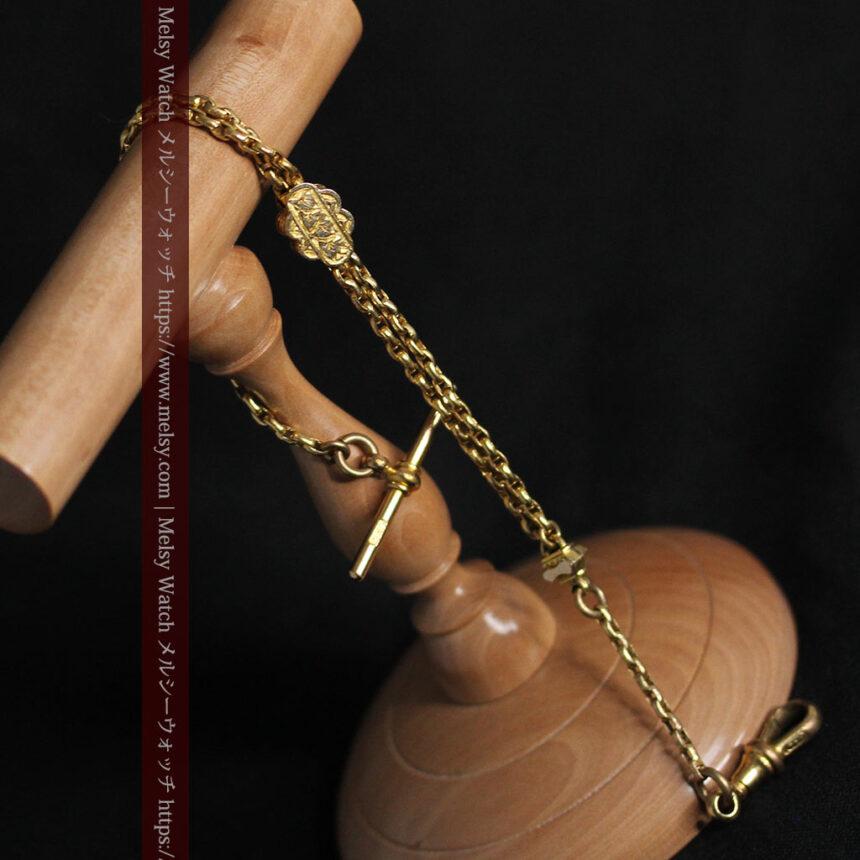 短めの綺麗な作りのアンティーク懐中時計チェーン-C0464-3