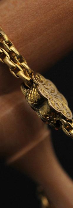 短めの綺麗な作りのアンティーク懐中時計チェーン-C0464-4