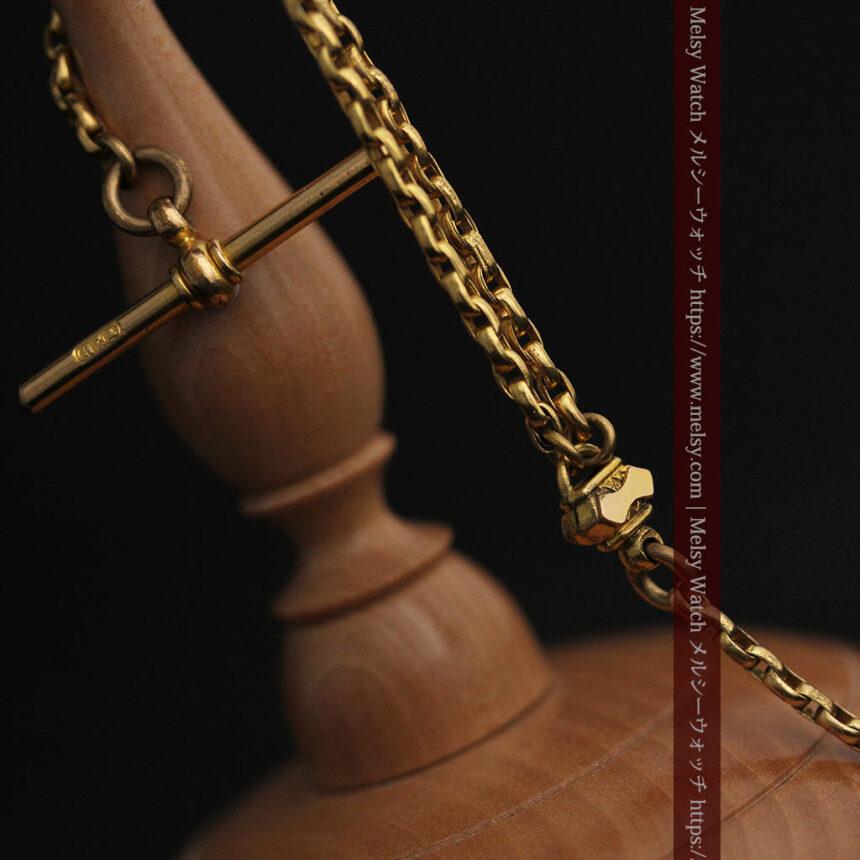 短めの綺麗な作りのアンティーク懐中時計チェーン-C0464-5