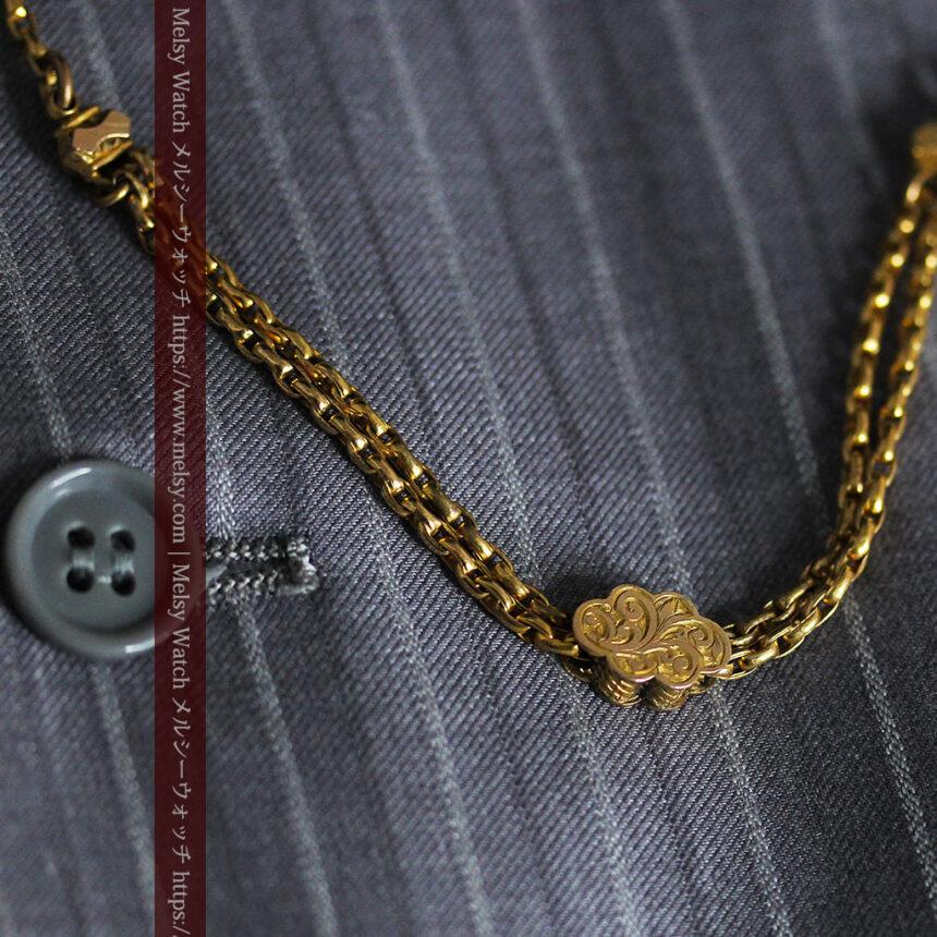 短めの綺麗な作りのアンティーク懐中時計チェーン-C0464-6