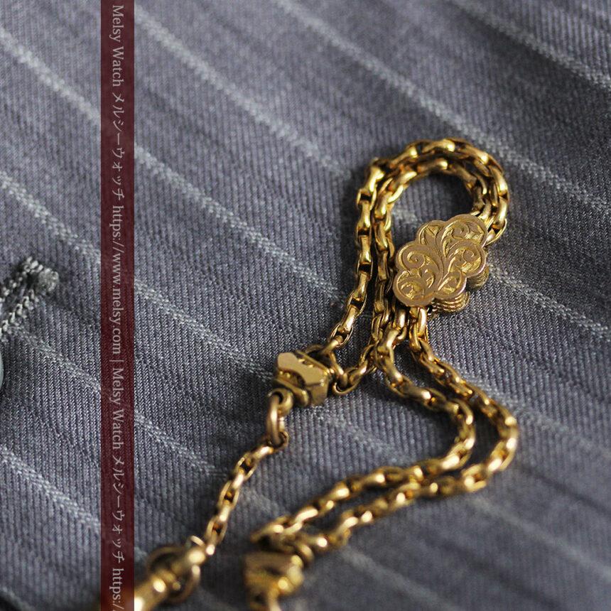短めの綺麗な作りのアンティーク懐中時計チェーン-C0464-7