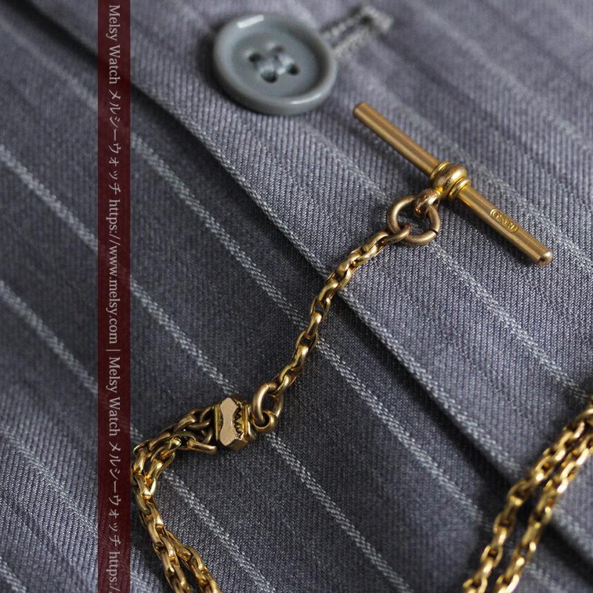 短めの綺麗な作りのアンティーク懐中時計チェーン-C0464-8