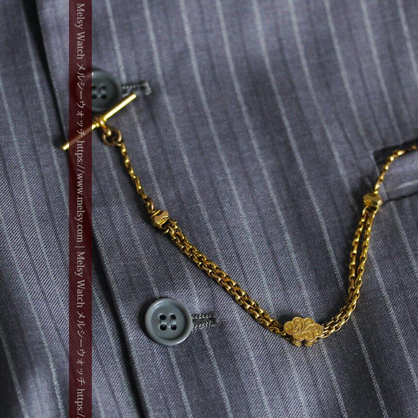 短めの綺麗な作りのアンティーク懐中時計チェーン-C0464-9