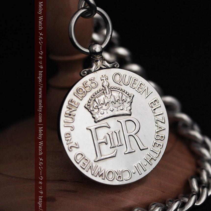 エリザベス女王戴冠記念メダル付きの極太銀無垢アンティーク懐中時計チェーン-C0465-1
