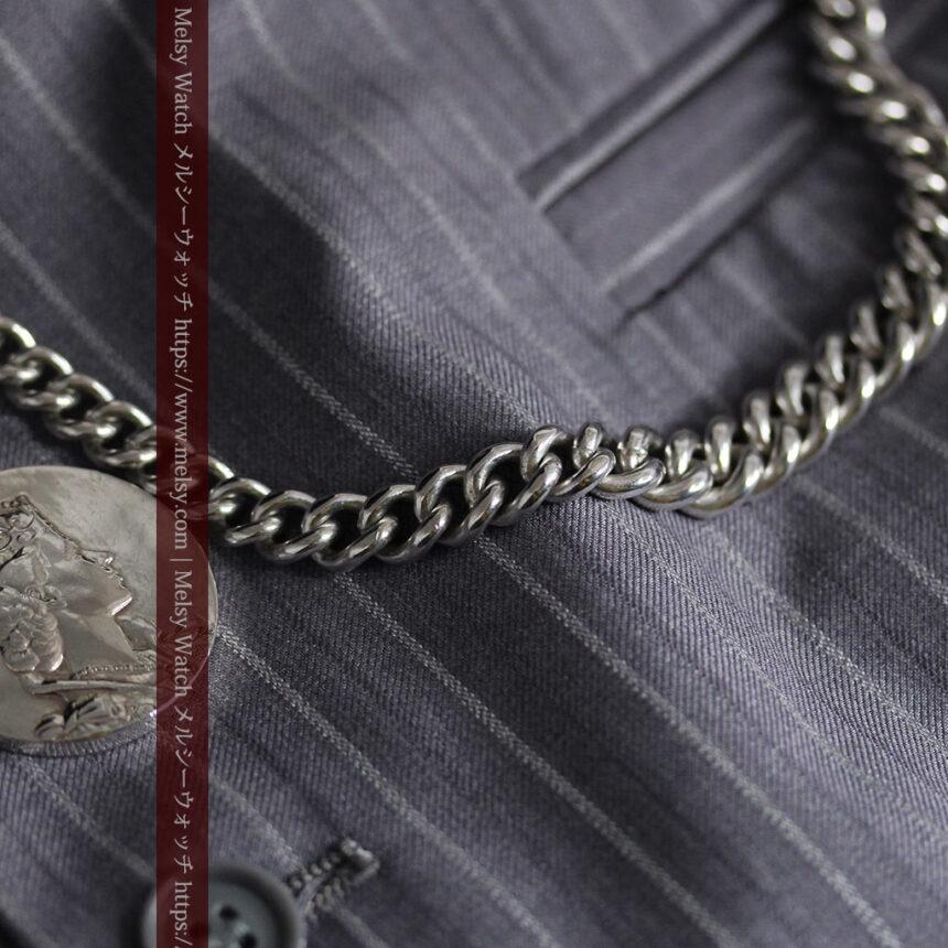 エリザベス女王戴冠記念メダル付きの極太銀無垢アンティーク懐中時計チェーン-C0465-10