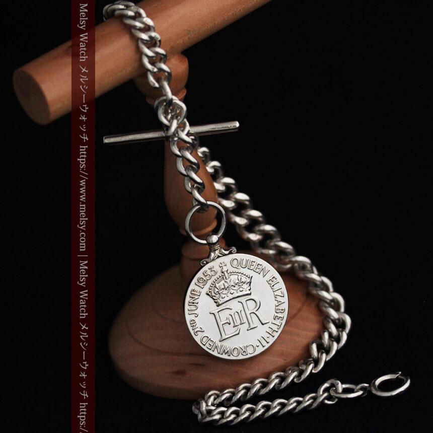 エリザベス女王戴冠記念メダル付きの極太銀無垢アンティーク懐中時計チェーン-C0465-11
