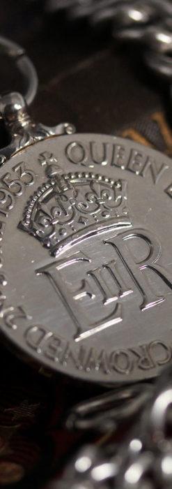 エリザベス女王戴冠記念メダル付きの極太銀無垢アンティーク懐中時計チェーン-C0465-12
