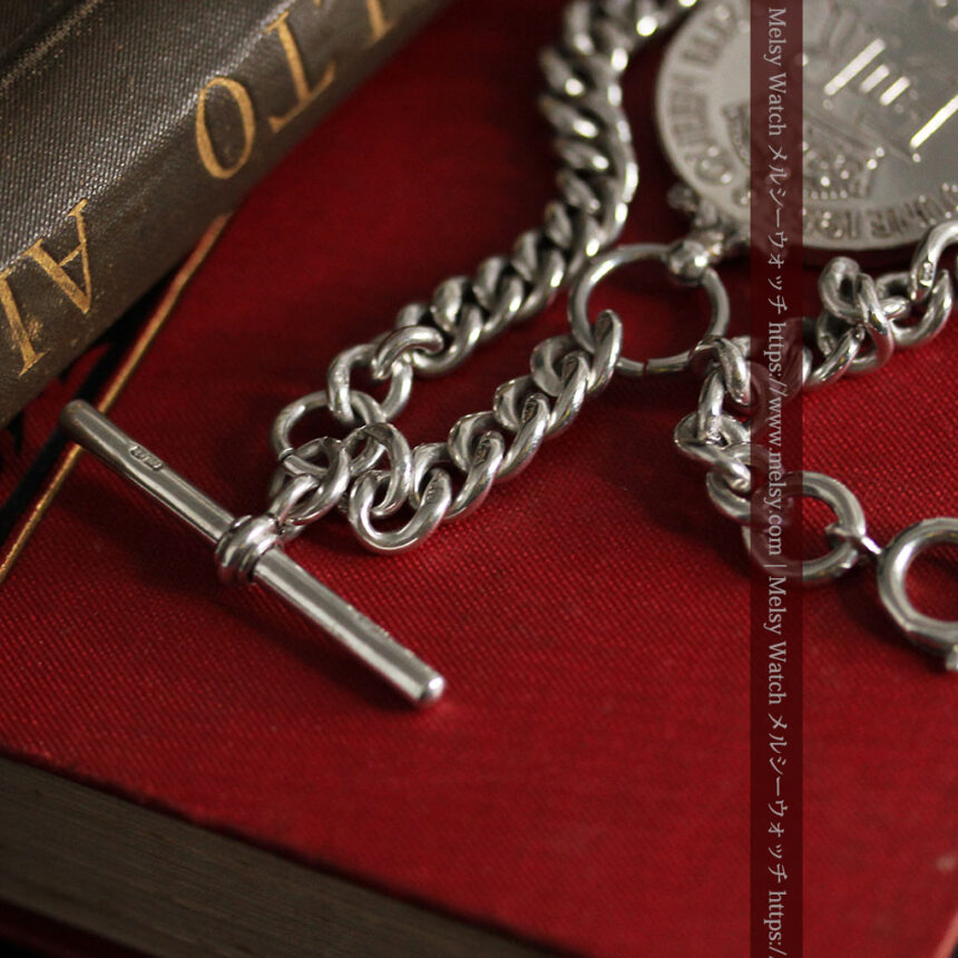 エリザベス女王戴冠記念メダル付きの極太銀無垢アンティーク懐中時計チェーン-C0465-13
