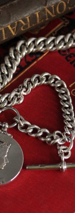 エリザベス女王戴冠記念メダル付きの極太銀無垢アンティーク懐中時計チェーン-C0465-14