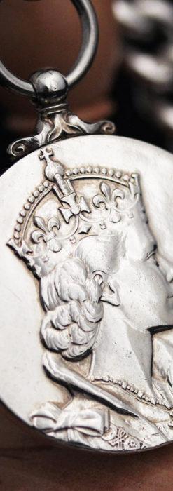 エリザベス女王戴冠記念メダル付きの極太銀無垢アンティーク懐中時計チェーン-C0465-2