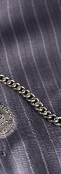 エリザベス女王戴冠記念メダル付きの極太銀無垢アンティーク懐中時計チェーン-C0465-3