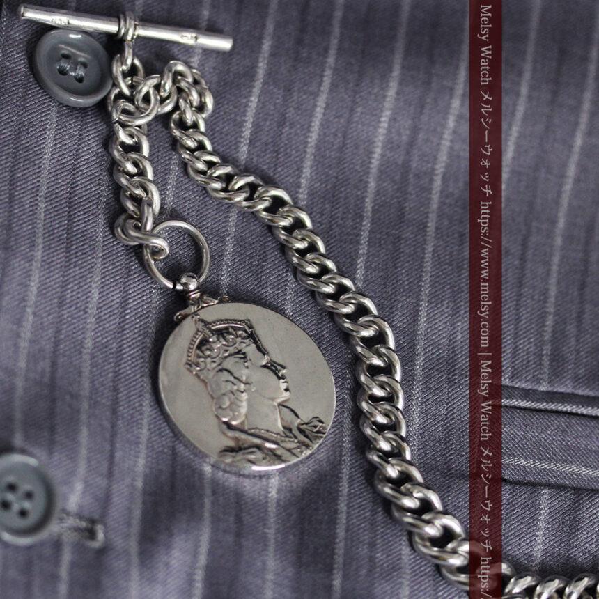 エリザベス女王戴冠記念メダル付きの極太銀無垢アンティーク懐中時計チェーン-C0465-4