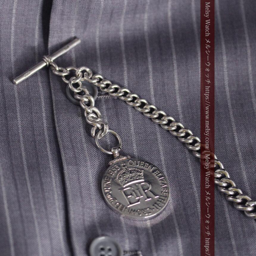 エリザベス女王戴冠記念メダル付きの極太銀無垢アンティーク懐中時計チェーン-C0465-5