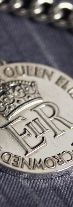 エリザベス女王戴冠記念メダル付きの極太銀無垢アンティーク懐中時計チェーン-C0465-6