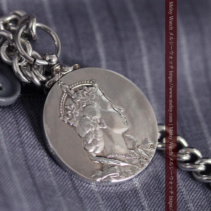 エリザベス女王戴冠記念メダル付きの極太銀無垢アンティーク懐中時計チェーン-C0465-7