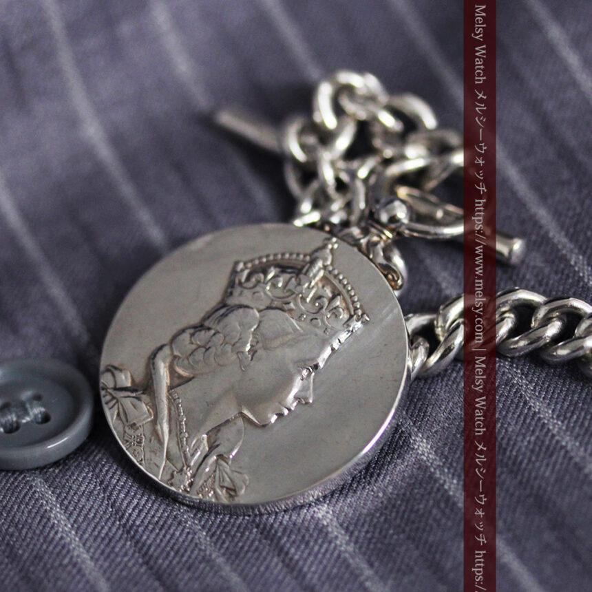 エリザベス女王戴冠記念メダル付きの極太銀無垢アンティーク懐中時計チェーン-C0465-8