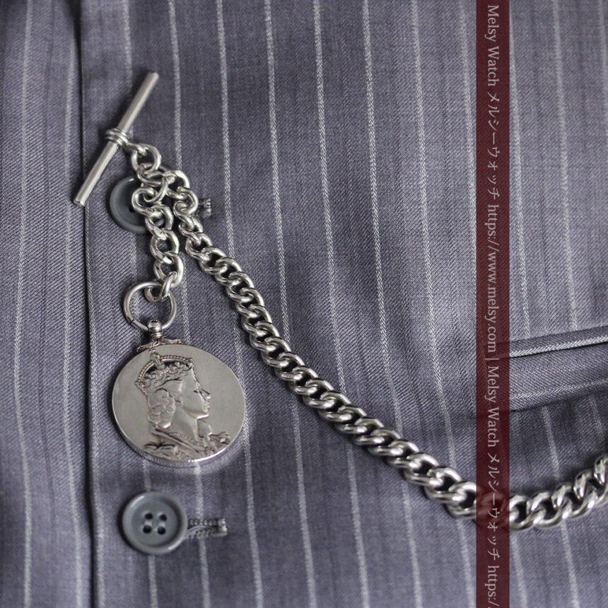 エリザベス女王戴冠記念メダル付きの極太銀無垢アンティーク懐中時計チェーン-C0465-9