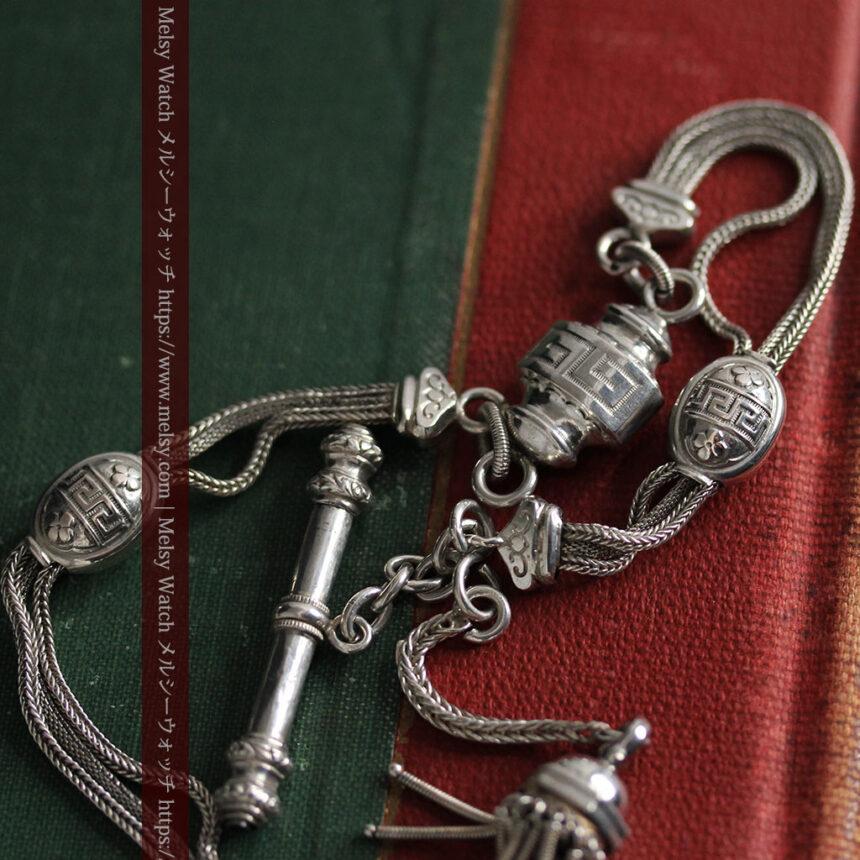 とても手の込んだ作りの銀無垢アンティーク懐中時計チェーン-C0466-1