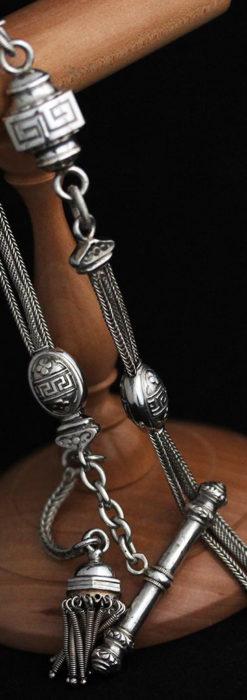 とても手の込んだ作りの銀無垢アンティーク懐中時計チェーン-C0466-10