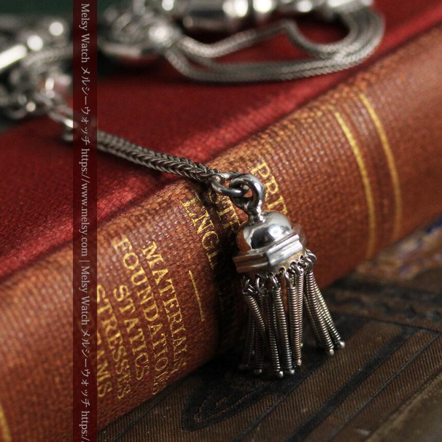とても手の込んだ作りの銀無垢アンティーク懐中時計チェーン-C0466-11