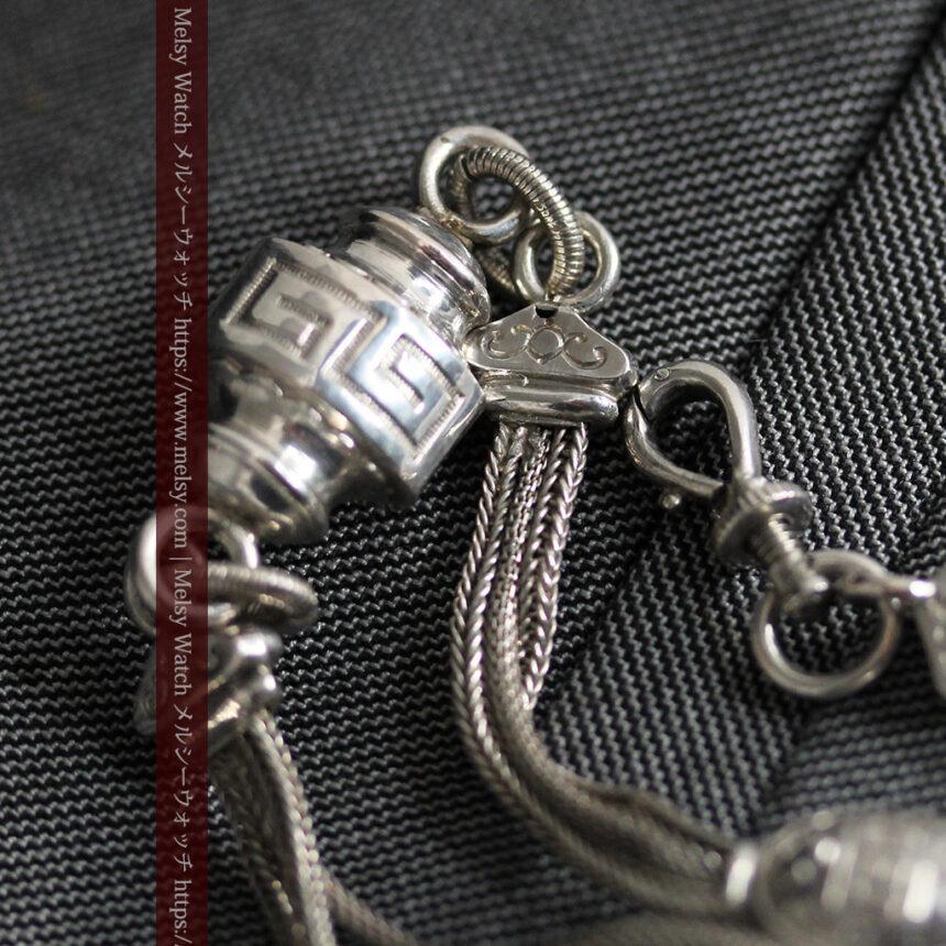 とても手の込んだ作りの銀無垢アンティーク懐中時計チェーン-C0466-13
