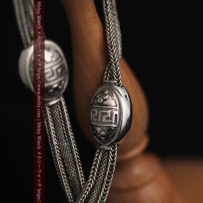とても手の込んだ作りの銀無垢アンティーク懐中時計チェーン-C0466-14