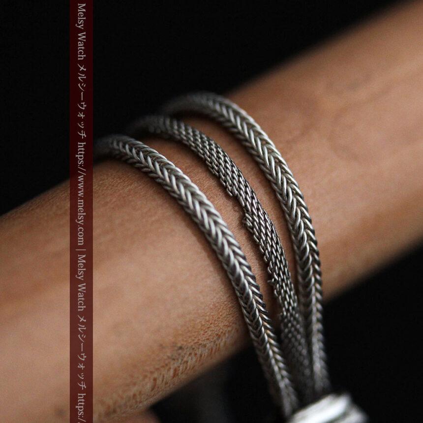 とても手の込んだ作りの銀無垢アンティーク懐中時計チェーン-C0466-15