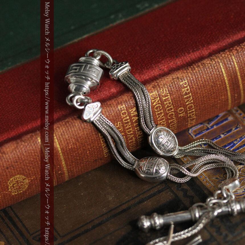 とても手の込んだ作りの銀無垢アンティーク懐中時計チェーン-C0466-3