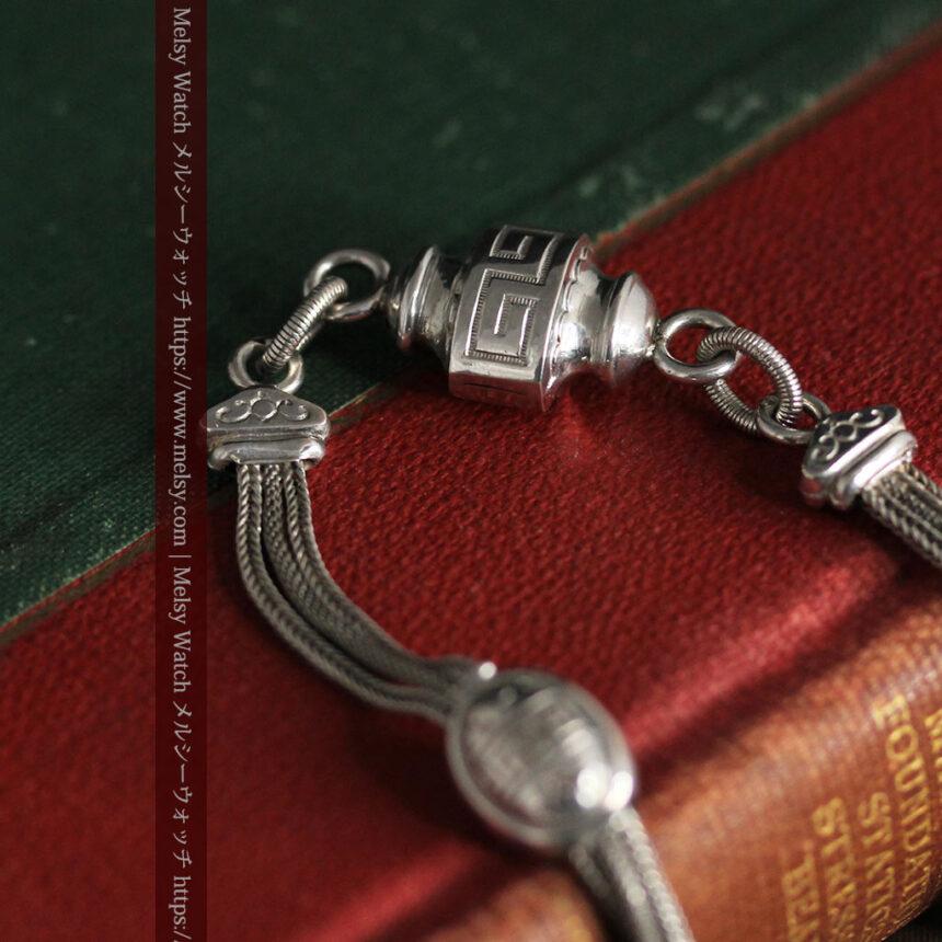 とても手の込んだ作りの銀無垢アンティーク懐中時計チェーン-C0466-4