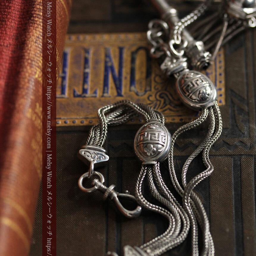 とても手の込んだ作りの銀無垢アンティーク懐中時計チェーン-C0466-5