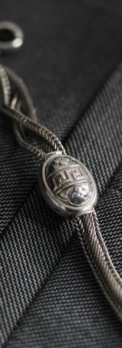 とても手の込んだ作りの銀無垢アンティーク懐中時計チェーン-C0466-7