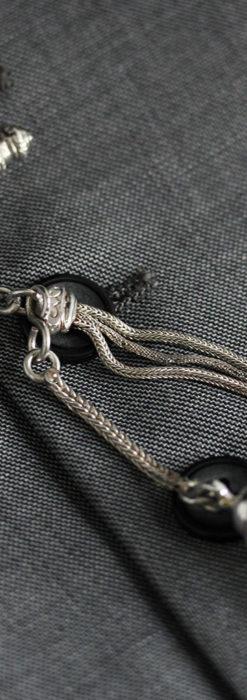 とても手の込んだ作りの銀無垢アンティーク懐中時計チェーン-C0466-8