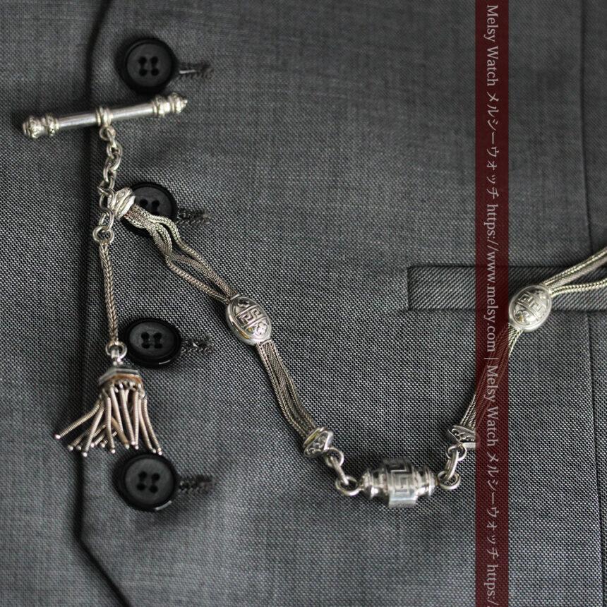 とても手の込んだ作りの銀無垢アンティーク懐中時計チェーン-C0466-9