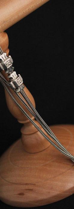 2つのスライド飾り付きの銀無垢アンティーク懐中時計チェーン-C0468-10