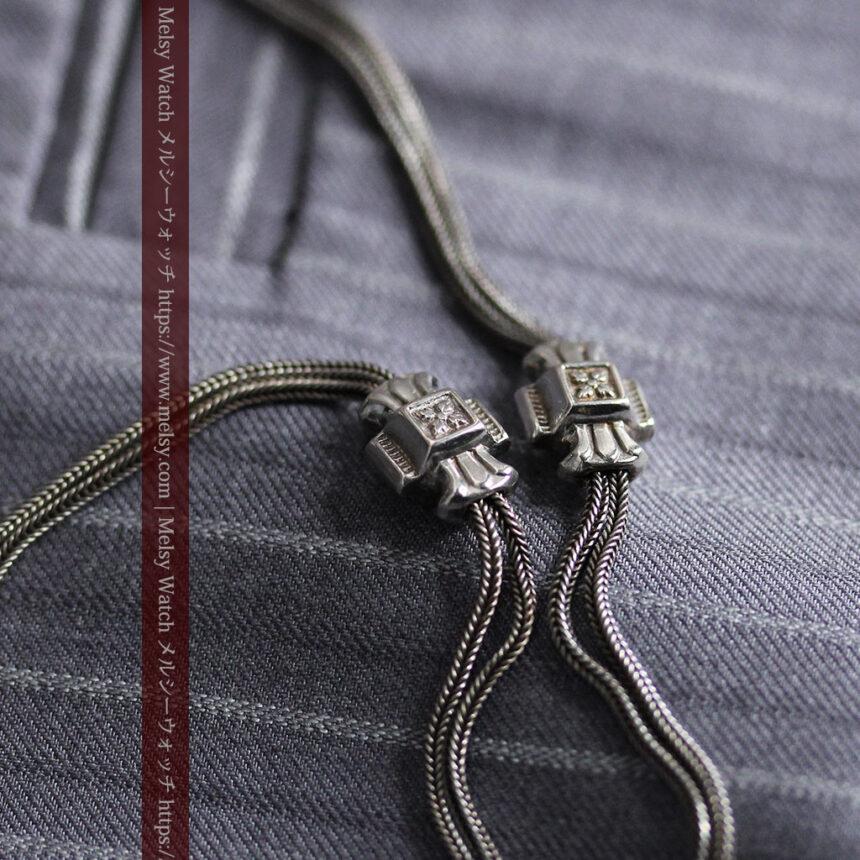 2つのスライド飾り付きの銀無垢アンティーク懐中時計チェーン-C0468-2