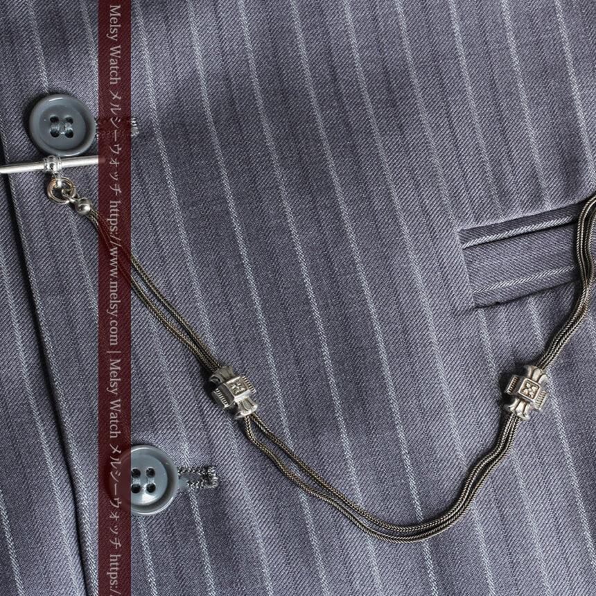 2つのスライド飾り付きの銀無垢アンティーク懐中時計チェーン-C0468-3