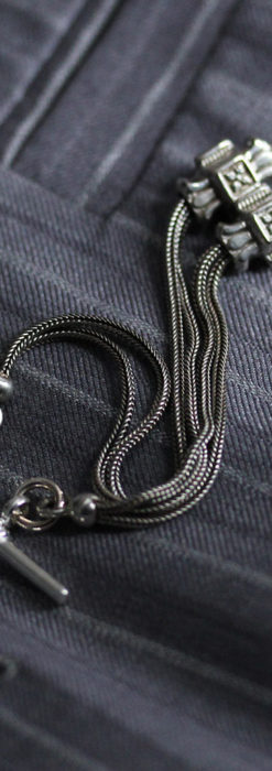 2つのスライド飾り付きの銀無垢アンティーク懐中時計チェーン-C0468-5