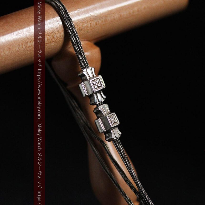 2つのスライド飾り付きの銀無垢アンティーク懐中時計チェーン-C0468-8