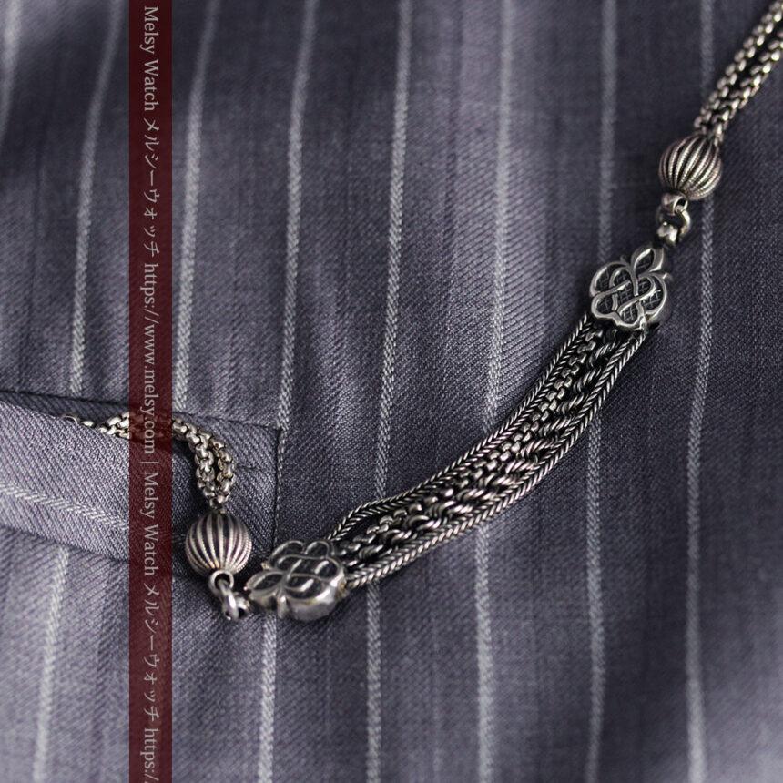 繊細な飾りの綺麗な銀無垢アンティーク懐中時計チェーン-C0469-1