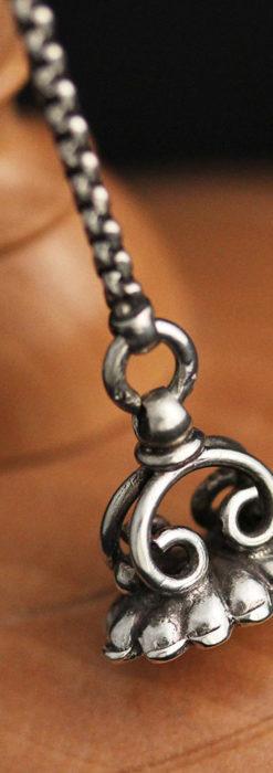 繊細な飾りの綺麗な銀無垢アンティーク懐中時計チェーン-C0469-10