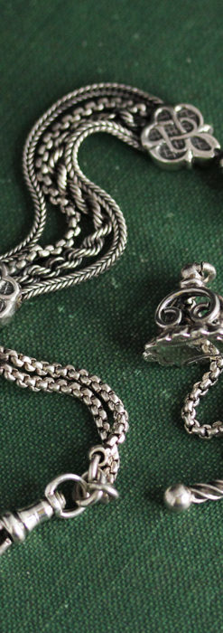 繊細な飾りの綺麗な銀無垢アンティーク懐中時計チェーン-C0469-12