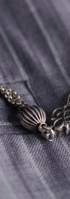 繊細な飾りの綺麗な銀無垢アンティーク懐中時計チェーン-C0469-2
