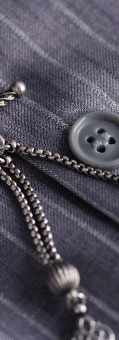 繊細な飾りの綺麗な銀無垢アンティーク懐中時計チェーン-C0469-3