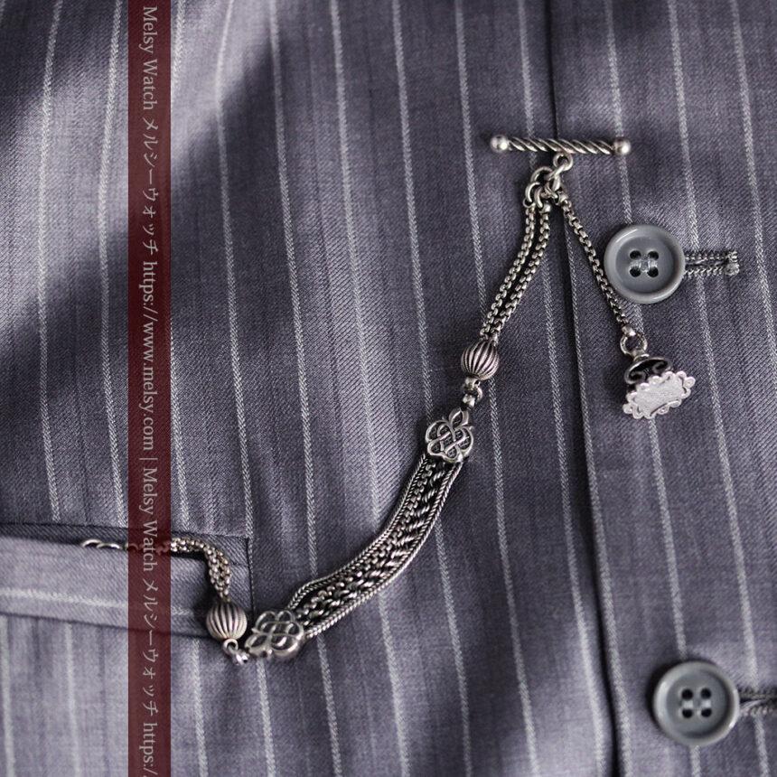 繊細な飾りの綺麗な銀無垢アンティーク懐中時計チェーン-C0469-4