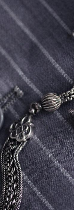 繊細な飾りの綺麗な銀無垢アンティーク懐中時計チェーン-C0469-5