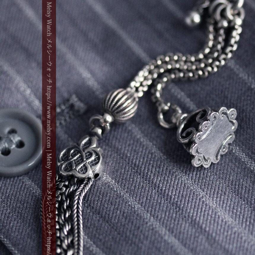 繊細な飾りの綺麗な銀無垢アンティーク懐中時計チェーン-C0469-6